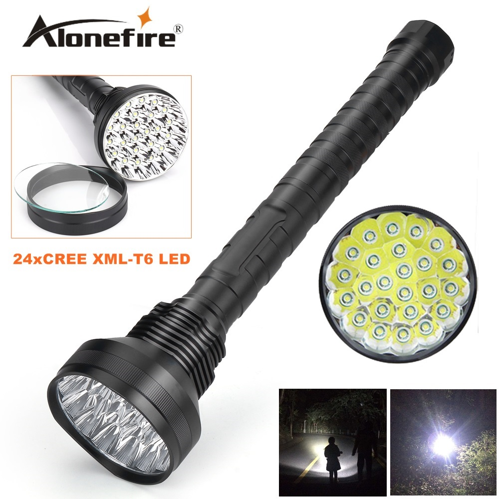 Alonefire HF24 CREE XML-T6 24xT6 LED 38000LM High power Glare 24T6 LED Flashlight Torch floodlight accent light camping lantern дополнительная фара gofl glare of light gl 0470 3311