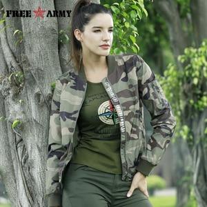 Image 5 - FreeArmy Fashion Casual Women Jacket Coat Light Weight Womens Jackets Camouflage Ladies Clothing Style Jacket Bomber 2018 Fall