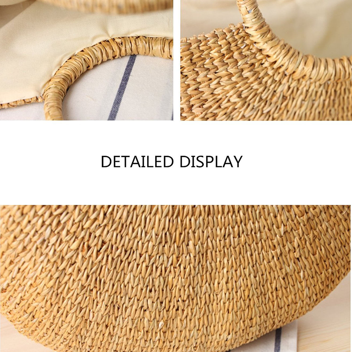 Image 4 - DCOS Womens Vintage Straw Woven Handbags Casual Beach Vacation Large Tote Bags With Round Handle Ring(Hairball)Top-Handle Bags   -