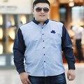 Free shipping 2016 autumn men's plus size clothing long-sleeve shirt men Patchwork cotton loose top quality fat casual shirt 8xl