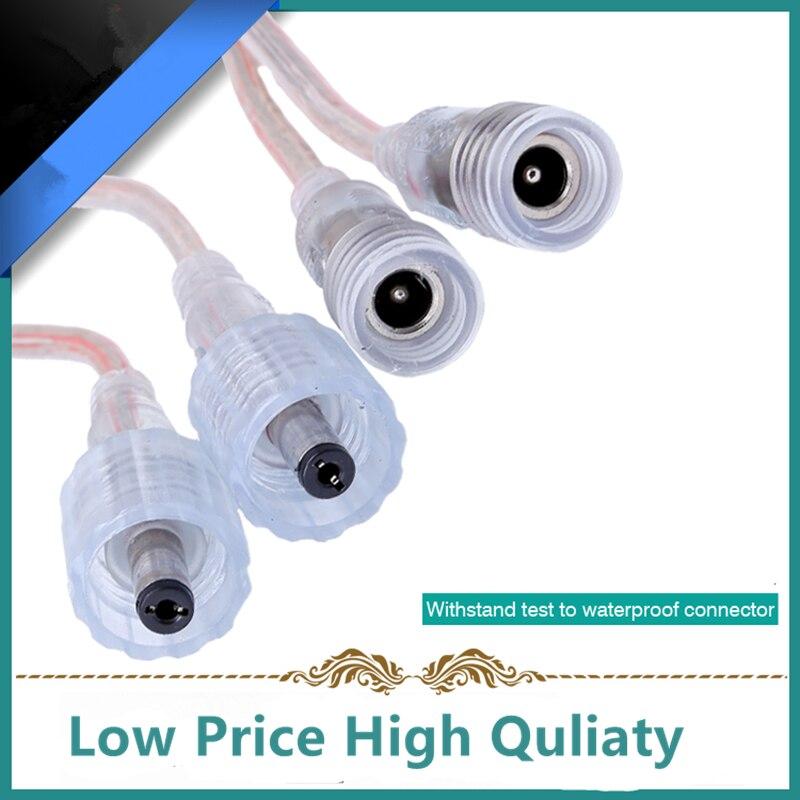 Водонепроницаемый разъем постоянного тока 5,5x2,1 мм, 2 pin провода питания для одноцветной светодиодной ленты, 1 пара/лот