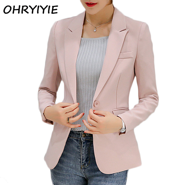 OHRYIYIE 2018 New Arrivals Women Blazer And Jacket Ladies Business Office Suit Jackets Female Pink Gray Blazer Femme Tops WB264