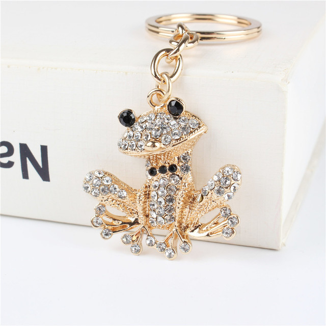 Lovely Frog Pendant Charm Rhinestone Crystal Purse Bag Keyring Key Chain  Accessories Wedding Party Holder Keyfob 63b41374e
