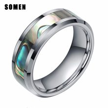 6b6dbd60ad47 Somen anillo hombres 8mm tungsteno Anillo Verde de Shell del olmo del  embutido acabado biselado banda de boda Anillos De Comprom.