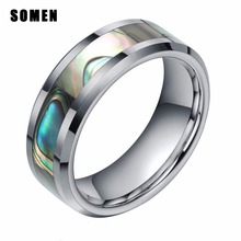 8MM Tungsten Abalone Shell Inlay Ring Polished Finish Beveled Wedding Band Size 4-15
