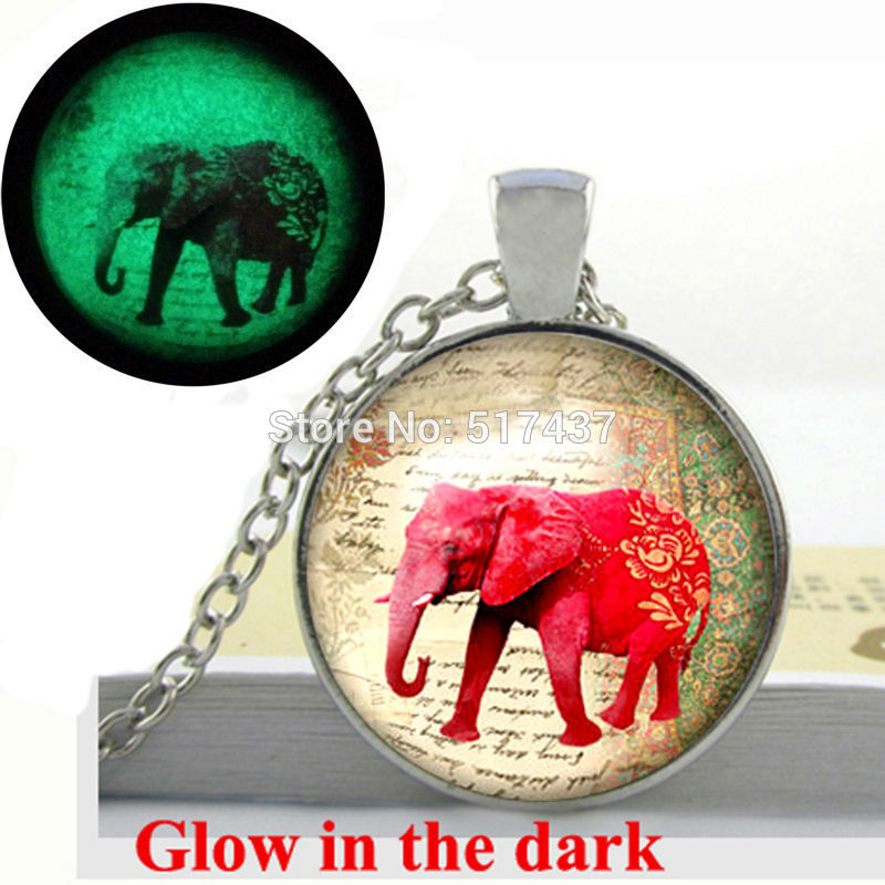 Glow in the Dark Pendant Elephant necklace pendant vintage Elephant jewelry art photo glass cabochon necklace Glowing jewelry