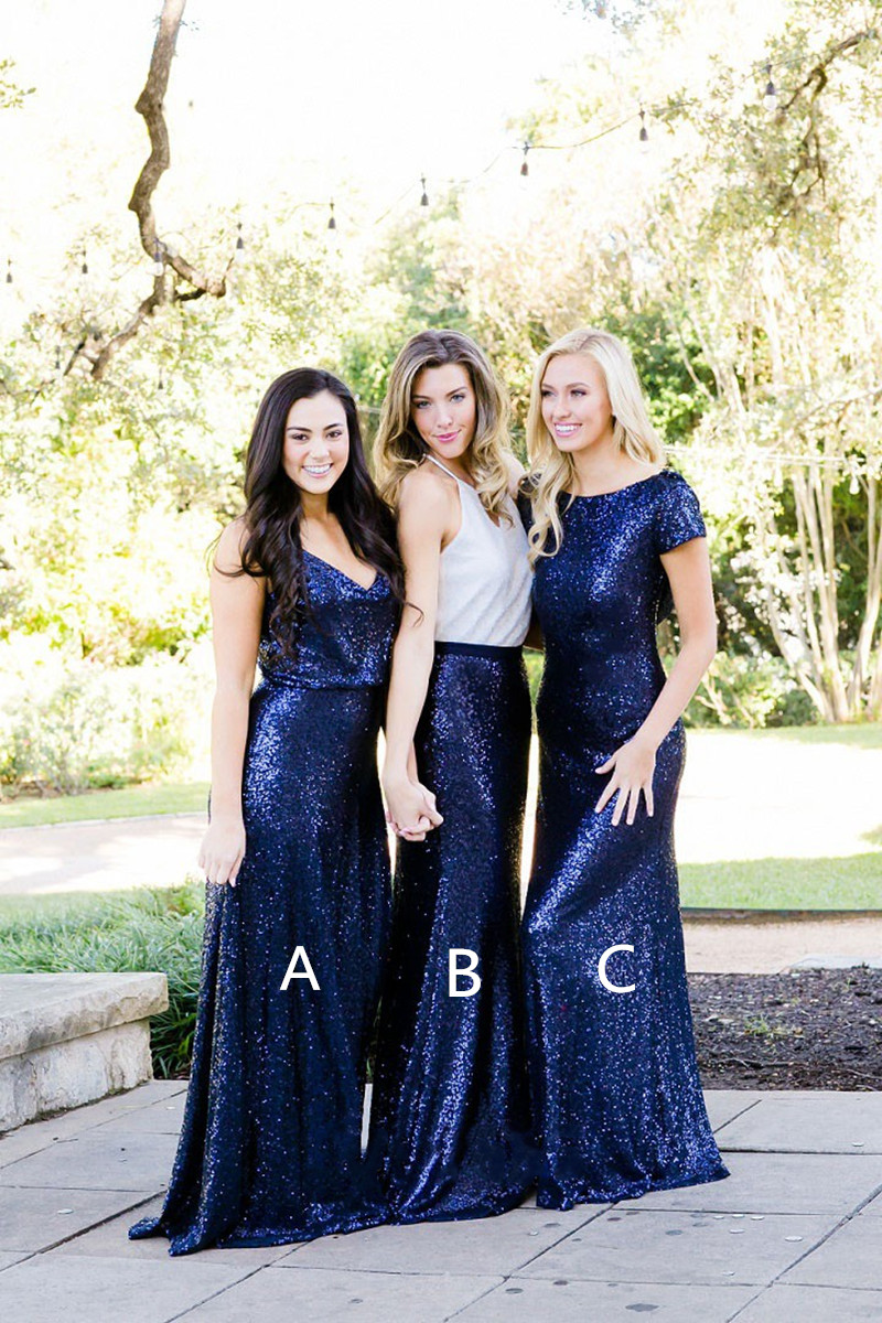 Sequined Navy Blue Bridesmaid Dresses 2019 Mermaid Floor Length Long Wedding Party Gowns Elegant Formal Bridesmaid Prom Dress in Bridesmaid Dresses from Weddings Events