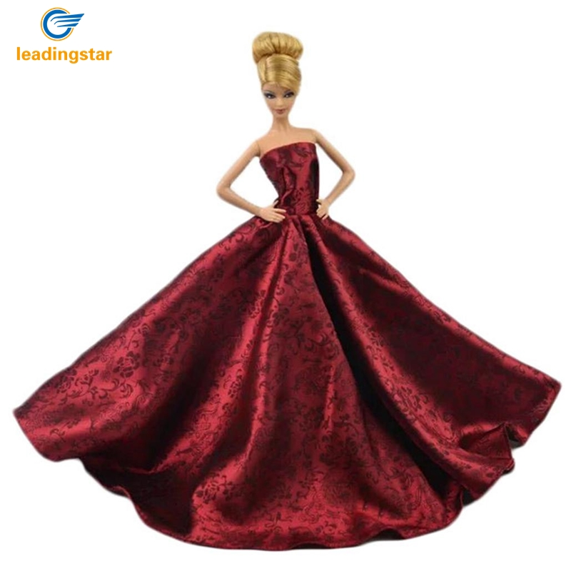 LeadingStar Super luxurious Red Princess Party dress for Barbie Doll Wedding Gown Accessories for Barbie dolls Baby Gift leadingstar 2017 new wedding bridal dress princess gown evening party dress doll clothes fit for barbie doll for kids gift zk30