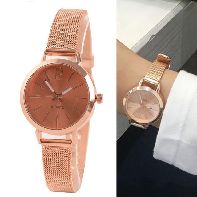 2018 New Fashion Women Watches Exquisite Rose Gold Stainless steel Quartz Watch