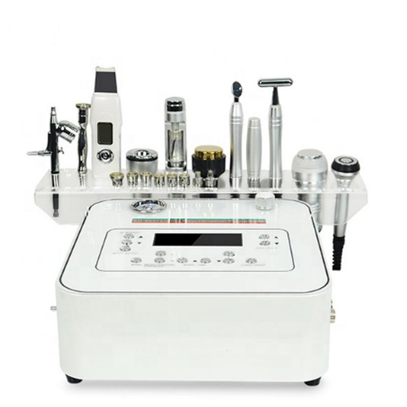 10in1 multi-fonction instrument de soin de la peau du visage microdermabrasion microcourant aiguille rf épurateur de peau