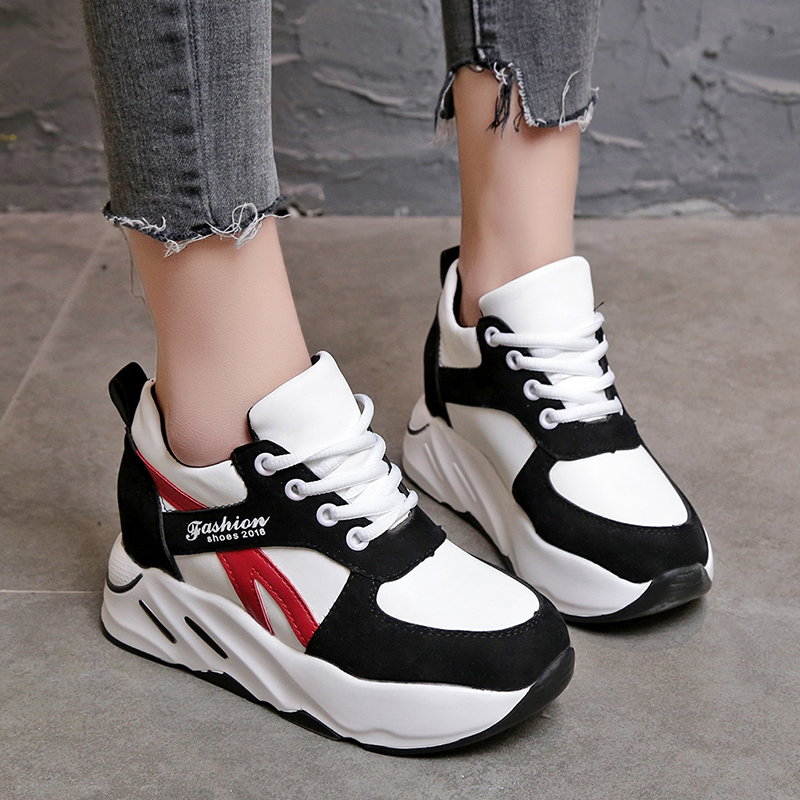 Women Casual Shoes High heels 2018 Autumn Women Wedges Shoes Fashion Platform Breathable Lace-Up Women Sneakers Zapatos Mujer 2016 spring autumn women pumps fashion square toe lace up ladies shoes silver platform wedges high heels zapatos mujer 33 40