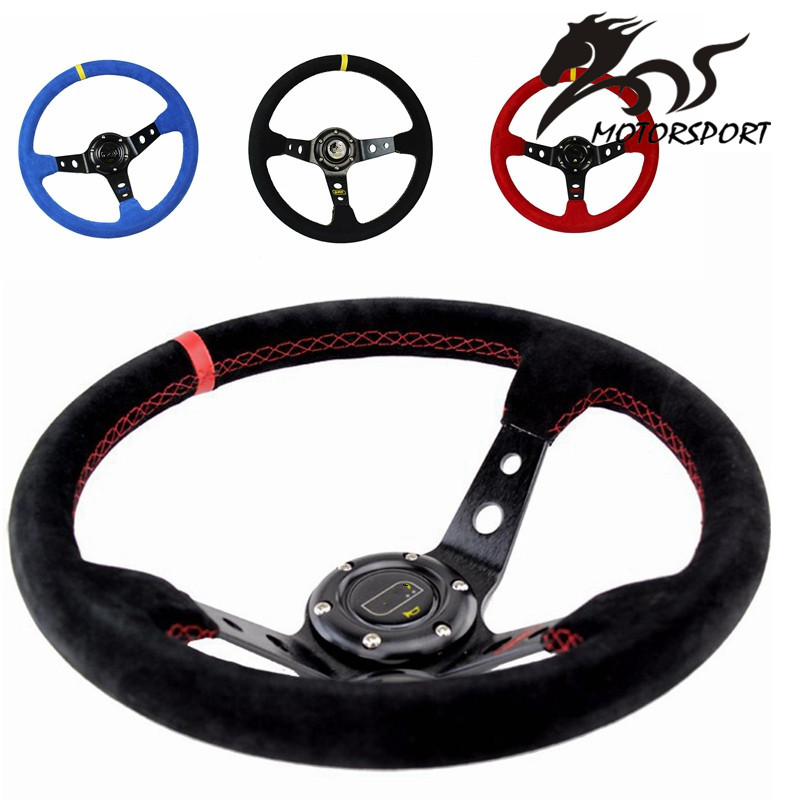 Stormcar 14inch 350mm OMP Deep Corn Drifting Wheel / Suede Leather Steering wheels