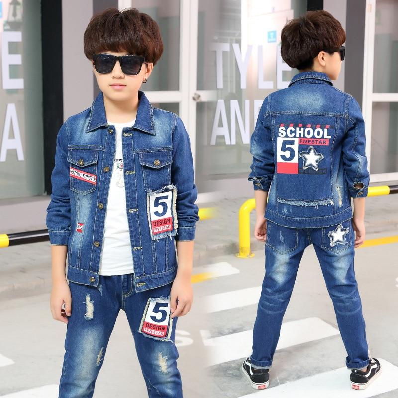 4d4d2acbb Boys Denim Jacket   Boys Jeans 2pcs Clothing Set Boy Coat Pants for ...