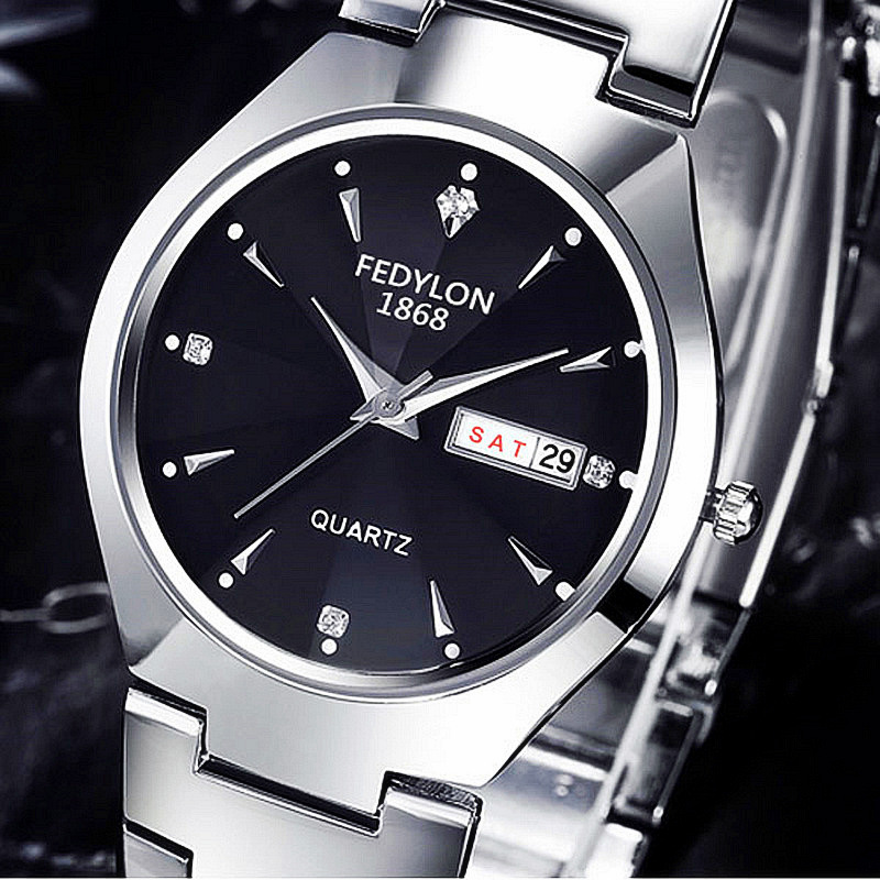 FEDYLON Ultrathin Tungsten Steel Casual Quartz Wrist Watch Men Women Luxury Display Date Week Diamond Watches Lover Gift Clock