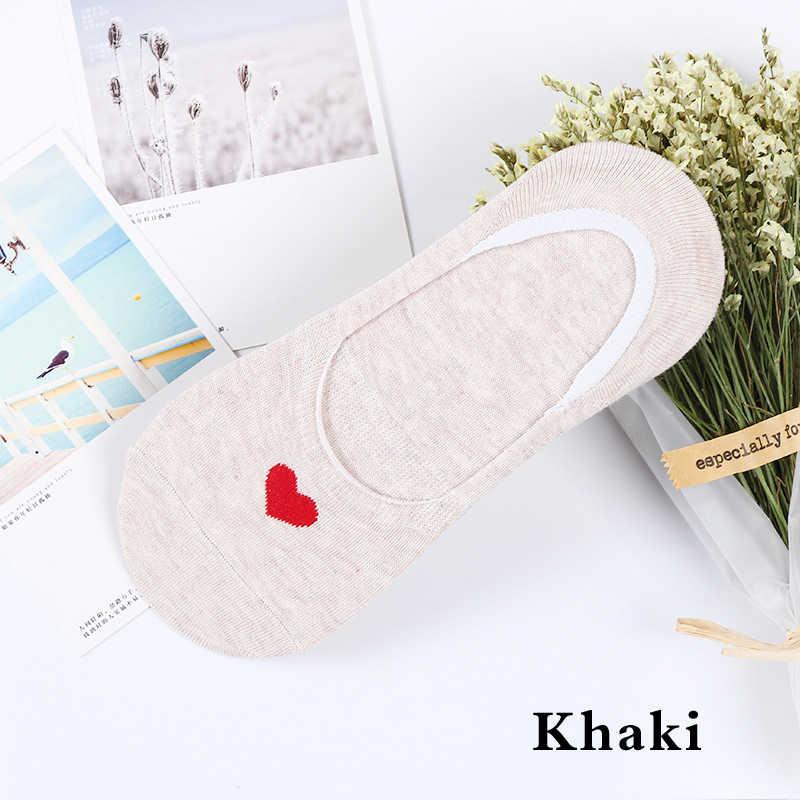 Jedna para kobiet skarpety kapcie lato moda bawełna miłość serce drukowane łódź skarpetki antypoślizgowe niewidoczne damskie oddychające skarpety