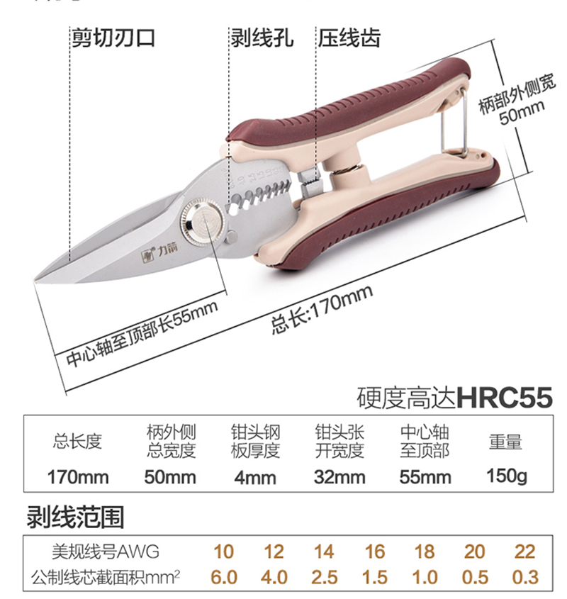 """HTB1R2XHvSBYBeNjy0Feq6znmFXae - Freeshipping! 7/8"""" Household Scissors Crimping Pliers Wire Stripper Multifunctional Scissor Cable Cutter Electrician Multi Tool"""
