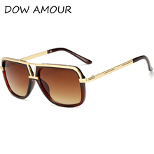 DOW AMOUR Luxury Sunglasses Men Gold Vintage Sun Glasses Women Brand Designer Eyewear Big Frame Square Fashion Eyewear