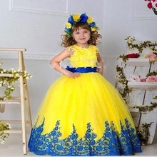 2017 Yellow Blue Ball Gown Flower Girl Dresses for Weddings Lace Appliqued Kids Evening Gowns Girls Pageant Dresses HT128