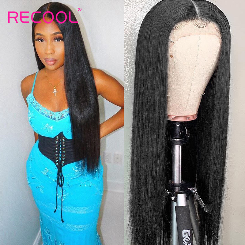 Recool 13x6 Straight Lace Front Human Hair Wigs Pre Plucked Brazilian Lace Frontal Wig 180 250