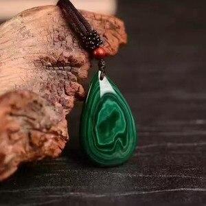 Image 3 - QIANXU Malachite Necklace Pendant  Water Drop Jade Pendant Jade Jewelry Fine Jewelry