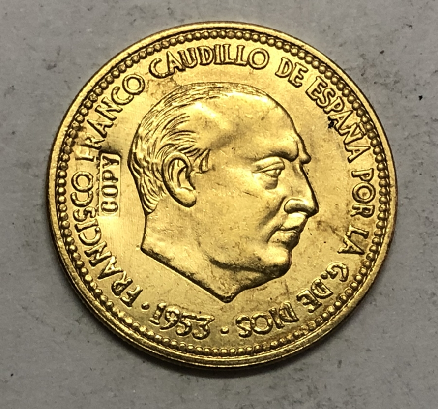 1953 Spain 2.5 Pesetas-Francisco Franco Copy Coin