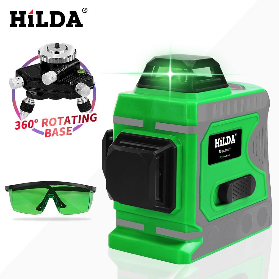 HILDA Vert Laser Niveau 12 Lignes 3D Niveau Auto-Nivellement 360 Horizontal Et Vertical Croix Super Puissant Vert Laser niveau