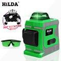 Hilda verde laser nível 12 linhas 3d nível auto nivelamento 360 horizontal e vertical cruz super poderoso laser verde nível|Níveis de laser| |  -
