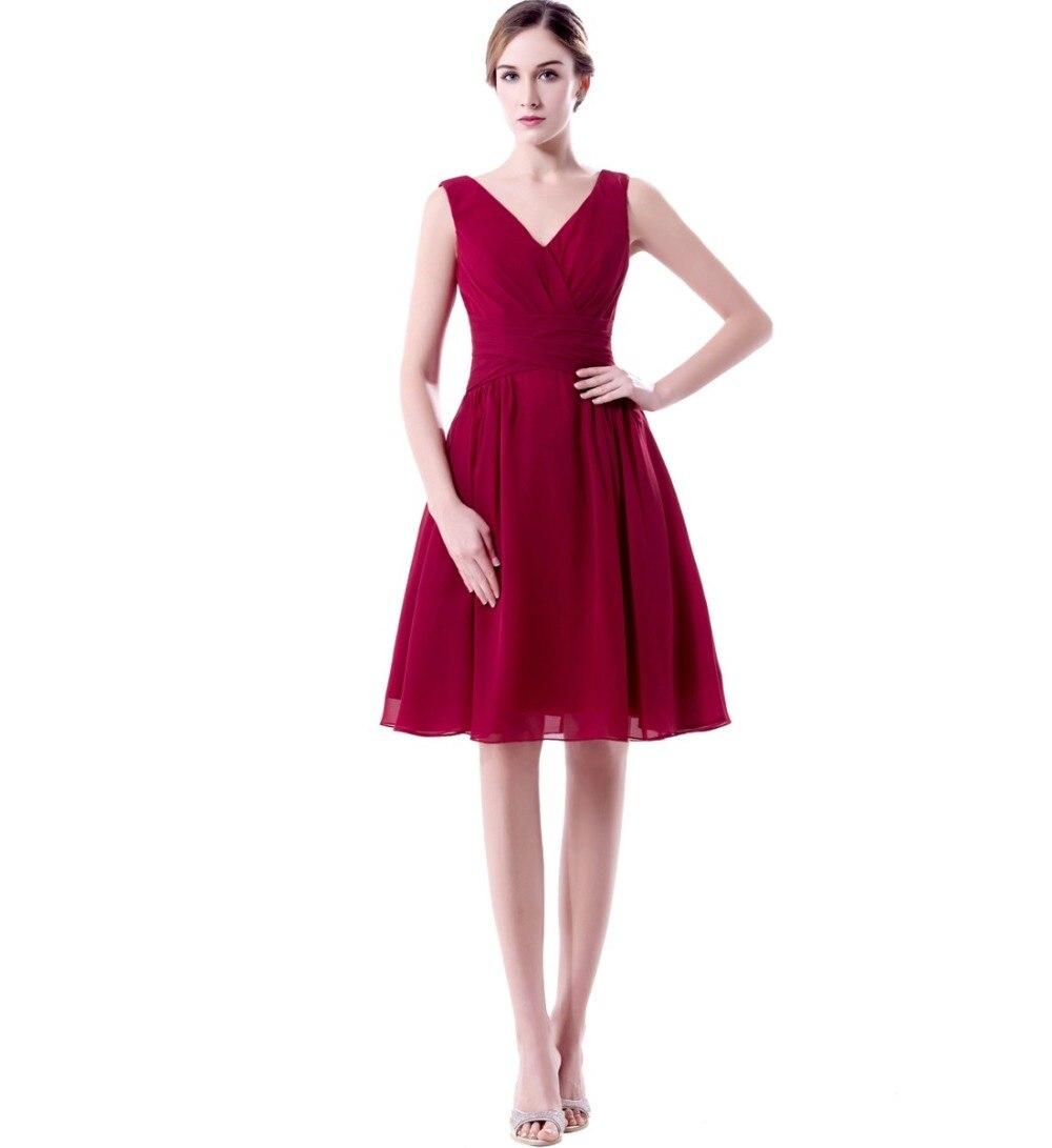 Buy v neck short knee length bridesmaid for Purple dresses for weddings knee length