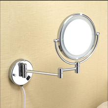 Chrome Wall Mounted 9 inch Brass one side 3X Magnifying Mirror LED Light Folding Makeup Cosmetic Lady Gift