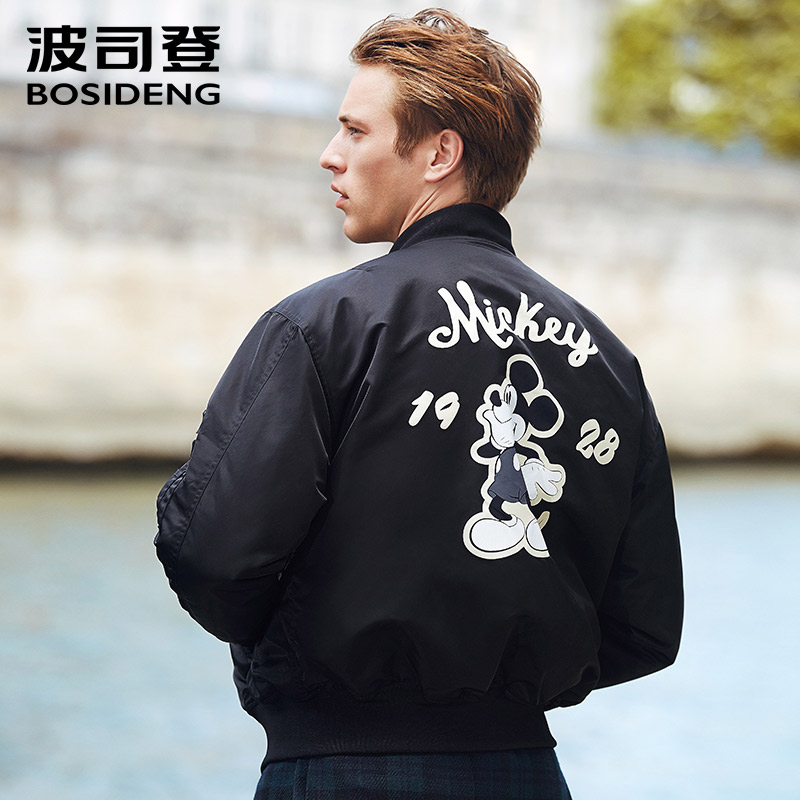 BOSIDENG 2017 new early winter down jacket for men Mickey print match outfits winter down coat outwear high street B70132119D