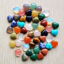 2017 nieuwe top kwaliteit Diverse natuursteen hart vorm cab cabochons kralen voor sieraden maken 10mm groothandel 50 stks/partij gratis