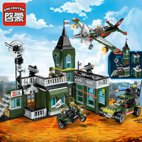 Air raid base Headquarters Building Combat Zone Military Series Combat Zone Bomb Car Soldier Building Block Brick Toy
