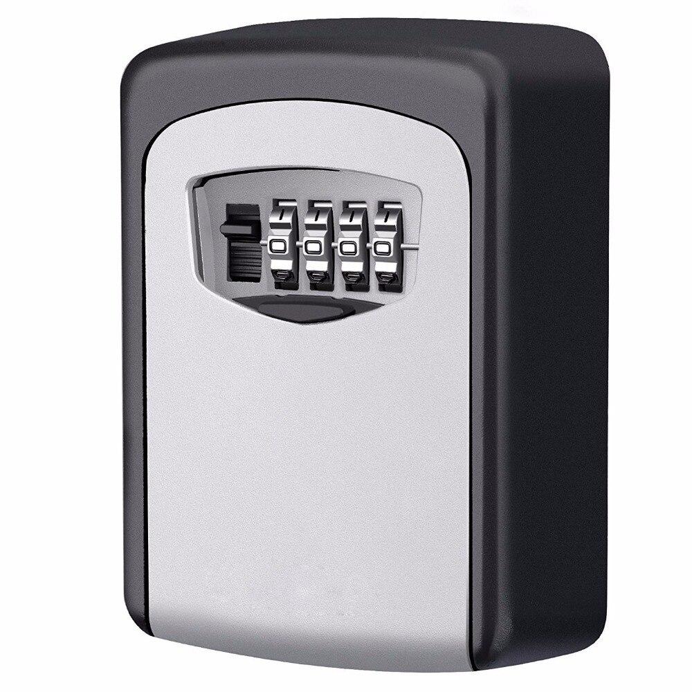 Safety Home Durable Storage Box Money Key Hider 4 Digit Security Secret Code Lock Wall Mounted Combination Password Keys Locked