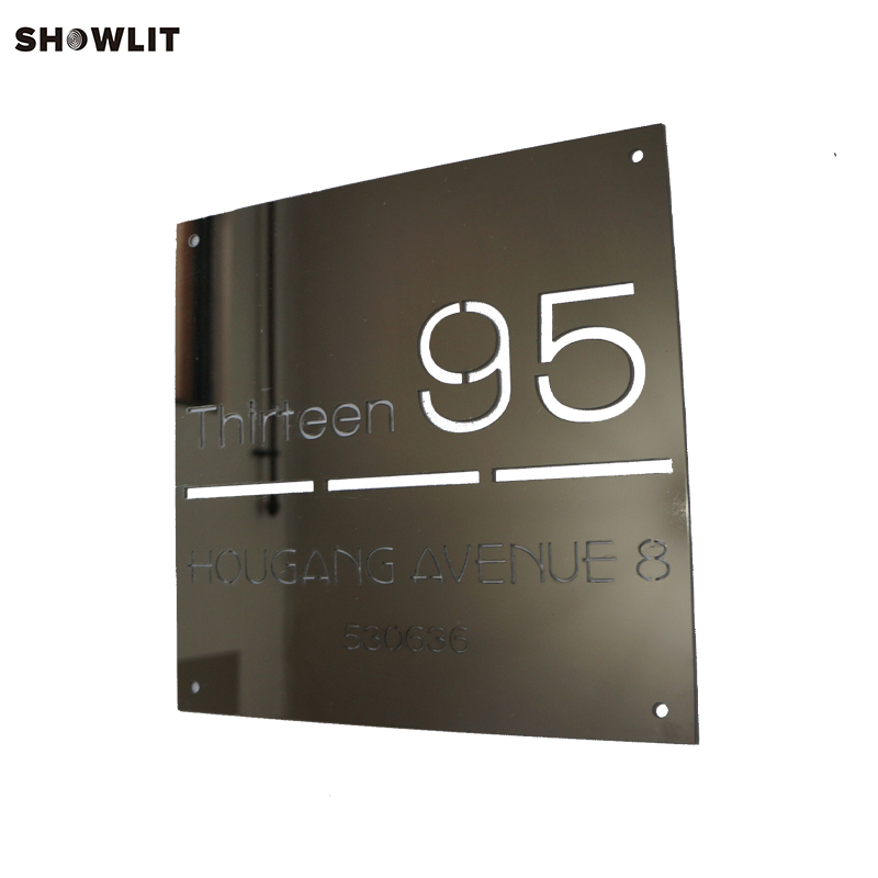 Custom Modern Square House Numbers Plaque In Polished Stainless Steel цена