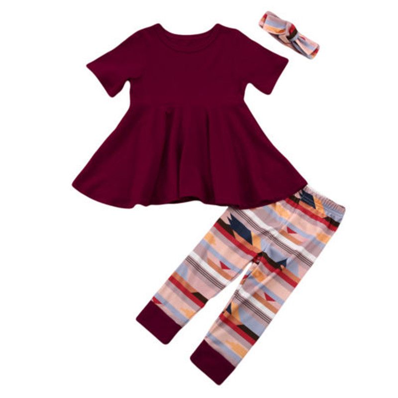 2017 Brand New Thanksgiving Style Kids Toddler Infant Baby Girl Outfits T-shirt Tops Dress+Geometric Pants+Headband 3Pcs Set