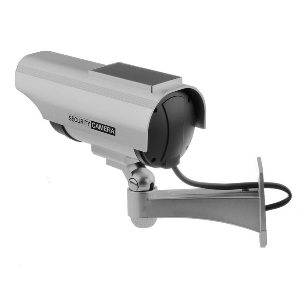 Topvico 2pcs Dummy Camera Solar + Battery Powered Flicker LED Outdoor Fake Surveillance Home Security Camera Bullet CCTV Camera