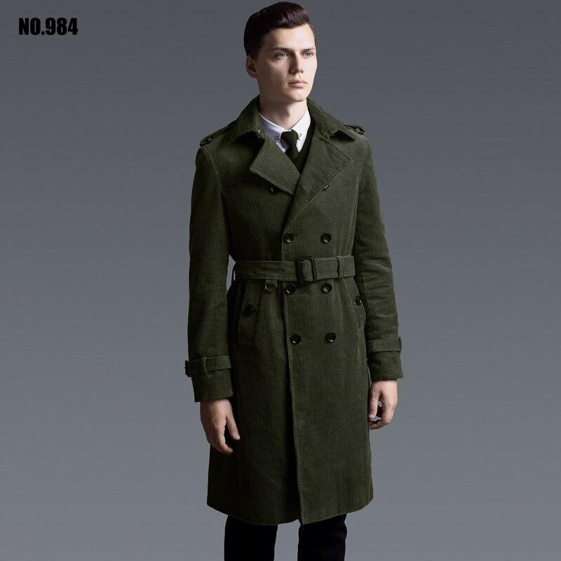 Длинные вельветовые плащ для мужские Длинные рукава Большие размеры двубортный пиджак мужской хлопок пальто для подарков
