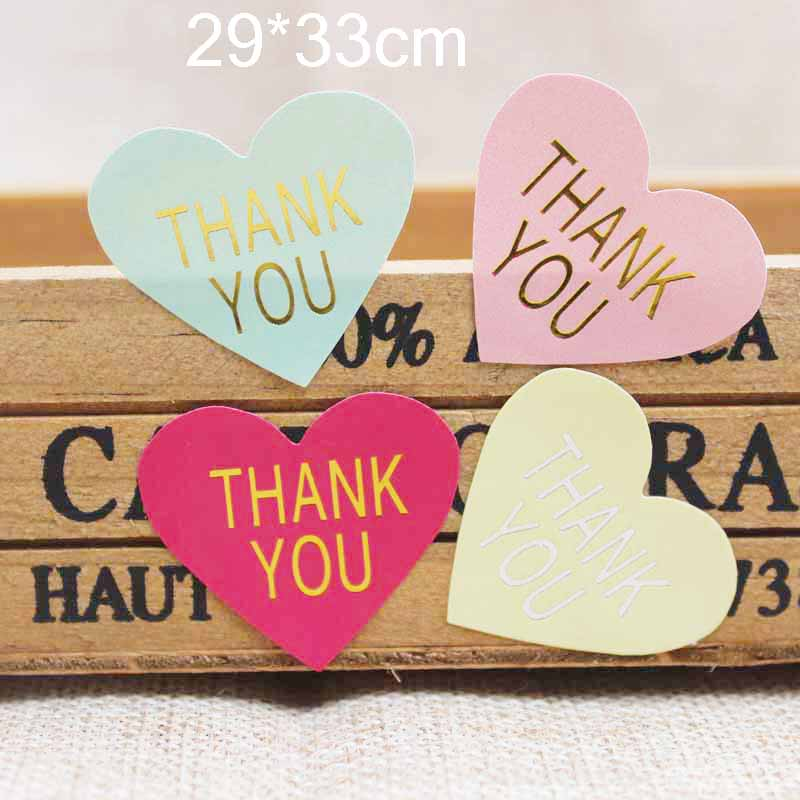 100PCS Mulit Color Heart Shape Thank You Label Stickers Gold/silver Foil Print Gift Labels Tag /cookies.bakies Label 29*33cm