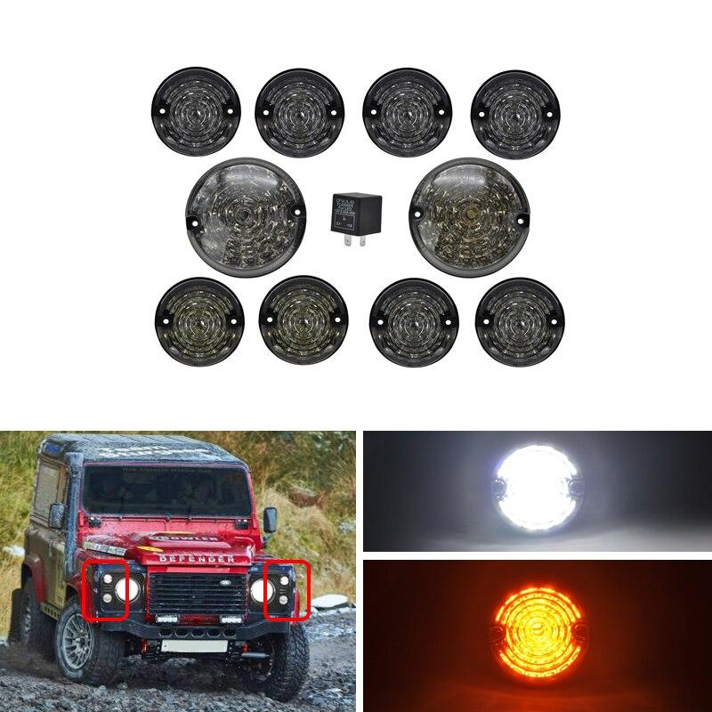 10PCs Kit Smoke Lens Complete Led Lamp Upgrade Kit For Land Rover Defender 1990 2016 Front