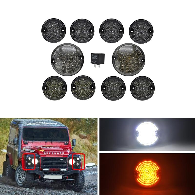 Clear Lens Defender Front Led Side Marker Light For 90//110 1983~1990 Defender 1990~2016 Led Side Lamp