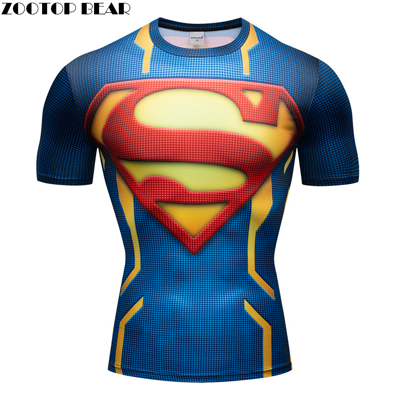 The superman T shirt Crossfit Spiderman Men T-shirt 3D Shirts Fitness Compression Super Hero Sleeve Breathable Bodybuilding Male