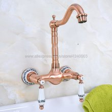 Antique Red Copper Wall Mounted Hot&Cold Bathroom Kitchen Basin Sink swivel Faucet Mixer Tap Kna954 недорого