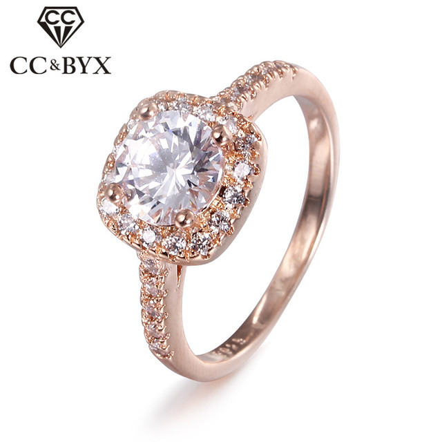 CC Jewelry Fashion Jewelry Rings For Women Luxury Rose Gold Color Square Stone P