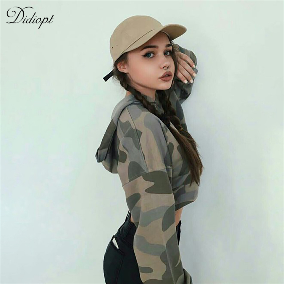 Didiopt 2018 New Model Camouflage Sweater Fit Best Print Women Sweatshirt Sexy Hooded Sweater T3034R