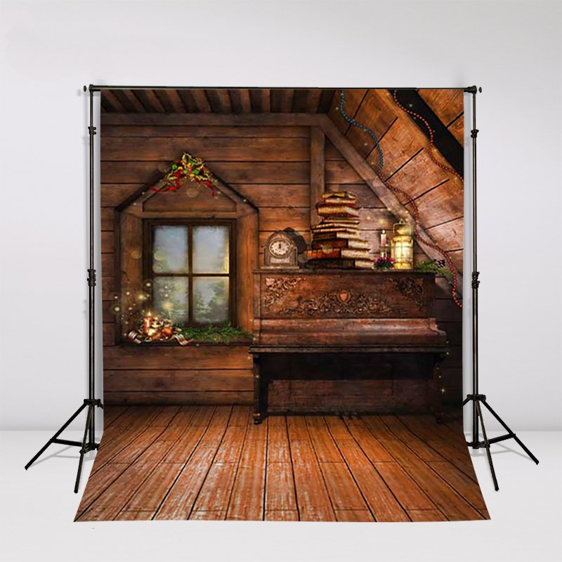 Wooden Attic Room Old Piano Books Christmas Candles Window Backdrop Vinyl Cloth High Quality Computer Print