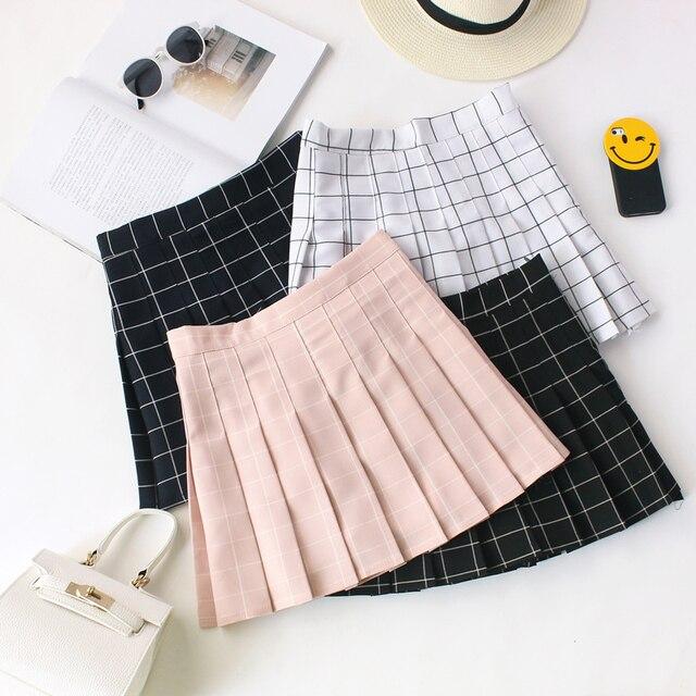 Для женщин Юбки для женщин 2018 Лето Для женщин плед каваи юбка Высокая Талия черный, белый цвет Юбки для женщин Harajuku Мини-юбки #008
