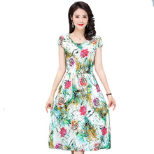 MANDADI Summer style dress 2019 Short sleeve O-Neck Vintage A-Line Women Casual print floral party Female plus size