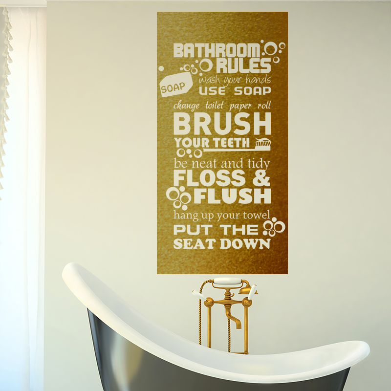 Art Design Bathroom rules for kids Quote wall sticker home decor ...