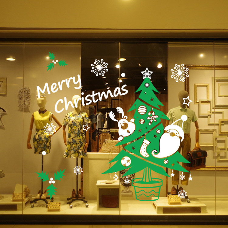 Merry Christmas Color Tree Snowflakes Wall Stickers Living Room PVC Decorative Glass Window Decor In From Home