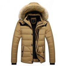 Мужчины куртка молния хлопка ватник зима мужчины пальто fuax меховой воротник пальто куртка